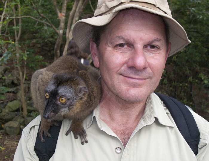 Alan Dean Foster with a wild Mayotte brown lemur, M'bouzi Island, Comoros. Alan Dean Foster Interview