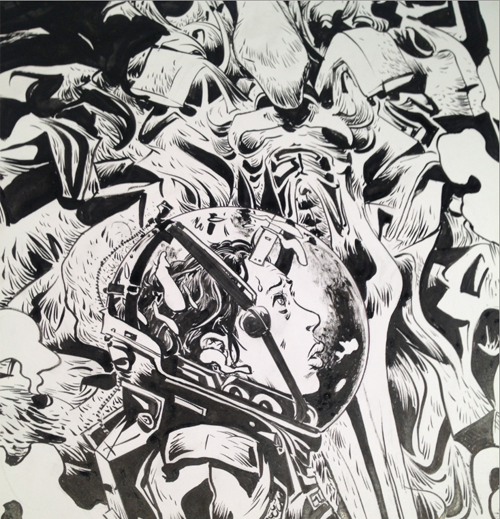 Paul Hope's Prometheus cover. Inks by Thomas Ragon. Paul Hope Doing Prometheus Cover