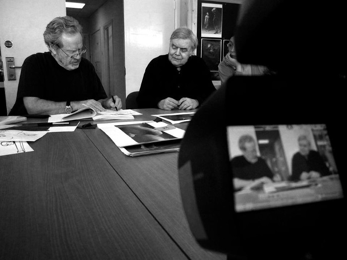 H.R Giger visits Ridley Scott during the production of Prometheus.  Charles De Lauzirika Interview