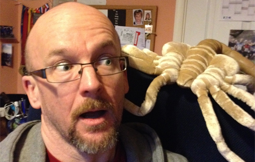 Tim Lebbon poses with deadly face-hugger. Alien - Out of the Shadows Review