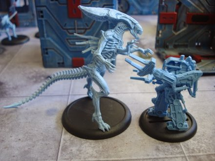 The Queen and the Power-Loader square up. - Aliens vs Predator The Miniatures Game Previews