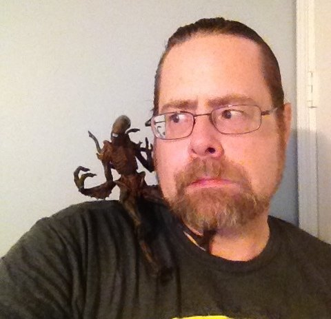 Jim Moore poses with his camera hungry friend.  Alien - Sea of Sorrows Review