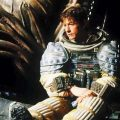 John Hurt takes a much needed rest on the set of Alien.