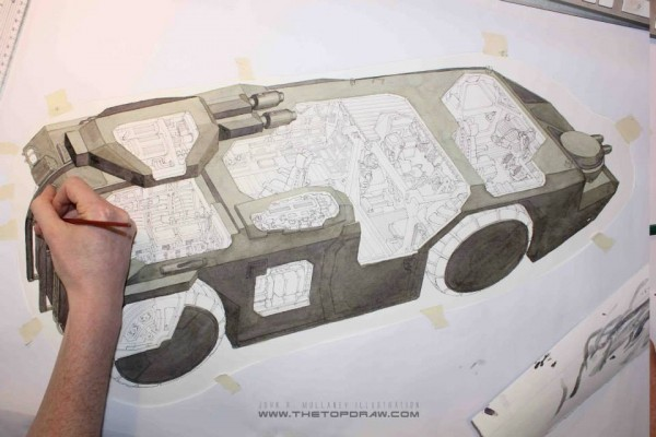 Completing exterior colour using layers of watercolour paint. APC Cutaway - Behind the Scenes of Alien: The Weyland-Yutani Report