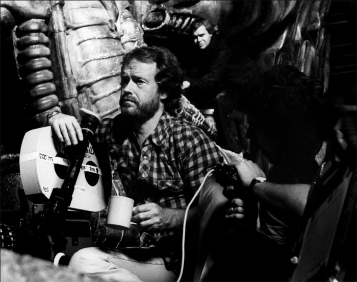 Ridley Scott on the set of Alien with H.R Giger in the Pilot's Chamber.  Alien: Paradise Lost Now Titled Alien: Covenant?