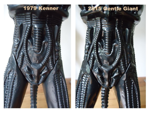 A comparison picture of the original Kenner figure alongside the larger Gentle Giant Alien replica. Gentle Giant Alien Replica Review