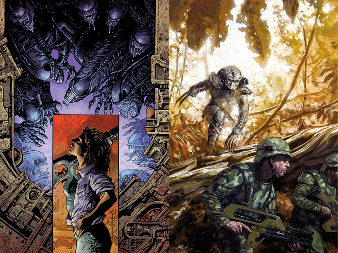 Cover art for Predator: Life & Death #2 and the Mark Nelson variant of Aliens: Defiance #1.  Predator: Life and Death #1 Preview