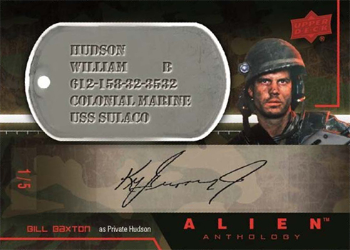 In addition to the normal Dog Tag cards, the Alien Anthology trading card set will also feature autographed variants of the Dog Tag cards. The above signature is a placeholder of Ken Griffey Jr's signature. Alien Anthology Trading Card Set Announced!