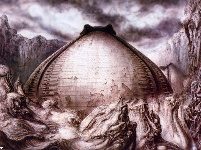 A piece of H.R Giger's artwork from Alien for the Egg Silo/Pyramid before it was merged with the Derelict. Aliens: The Female War Review
