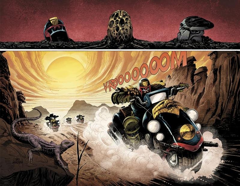 Artwork from Predator vs Judge Dredd vs Aliens #1, by Chris Mooneyham. Dark Horse Announces Predator vs. Judge Dredd vs. Aliens