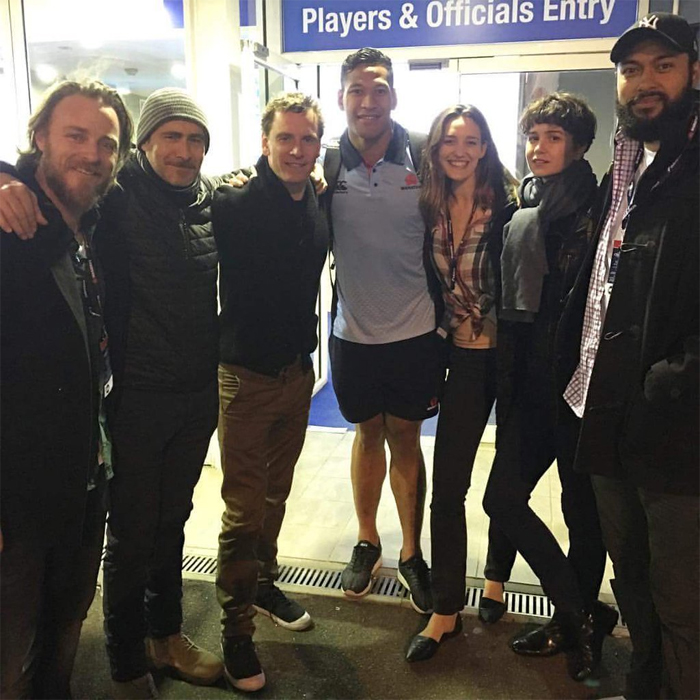 Katherine Waterston and some of her fellow Alien: Covenant cast pose together at a NSW Waratahs game. Katherine Waterston to Play Ripley's Mother?