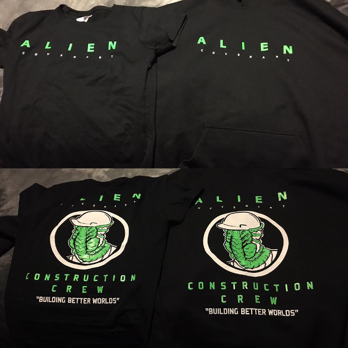 A look at the Alien: Covenant crew shirts and hoodies.  A Look at the Alien: Covenant Crew Shirts
