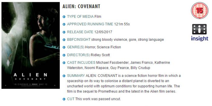 Alien Covenant Officially Rated 15 in UK