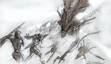 First sketch of the Alien Queen chasing out heroes