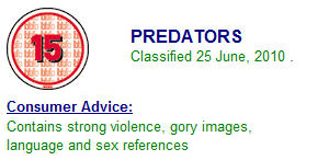 Predators Rated 15 in UK
