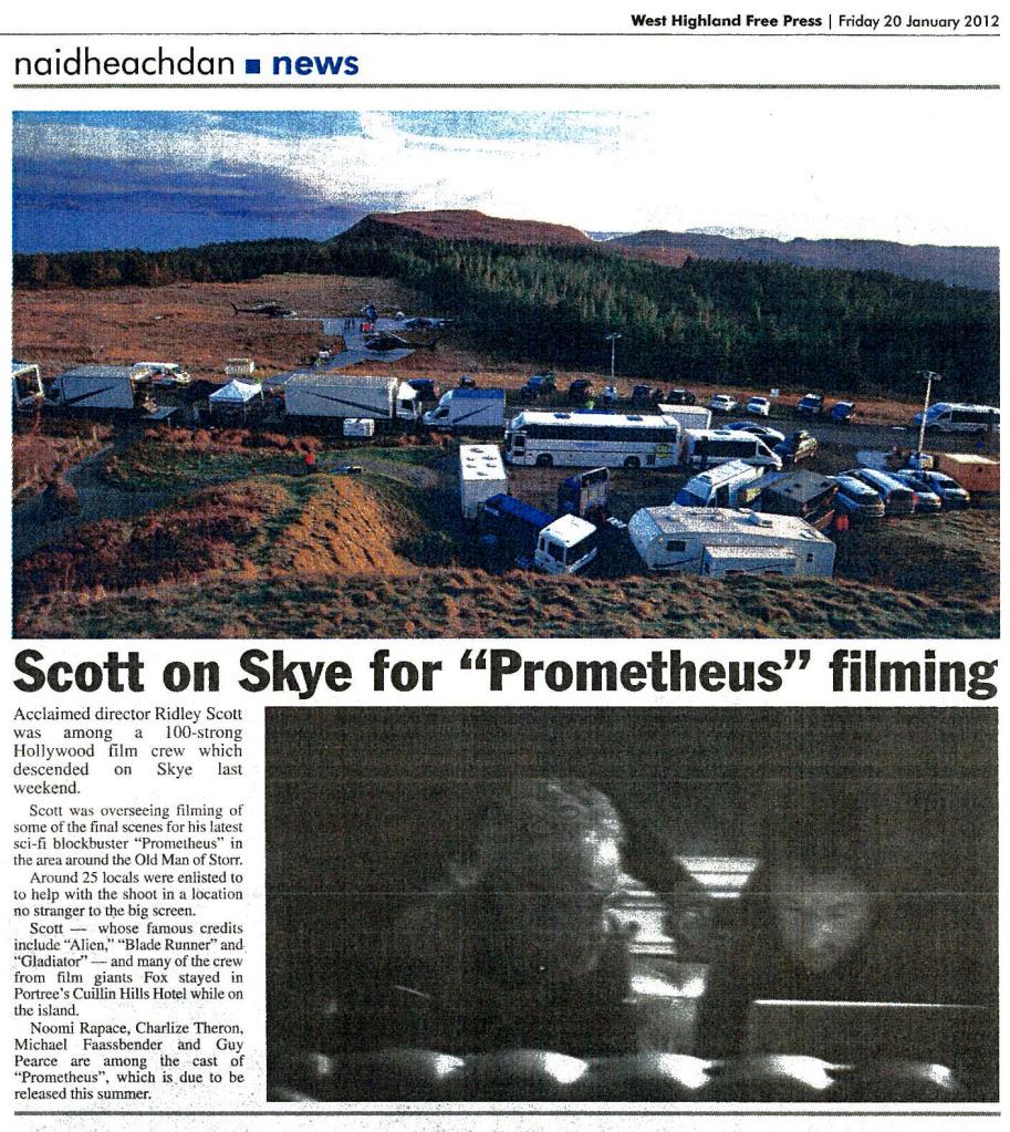 Ridley Scott Filming on Skye