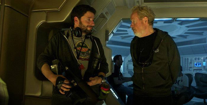 Charles De Lauzirika and Ridley Scott on the set of Prometheus.  Charles De Lauzirika Interview