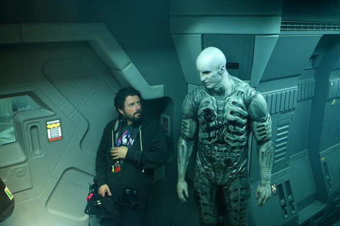 Charles De Lauzirika and Ian Whyte on set of Prometheus, aboard Vicker's lifeboat.  Charles De Lauzirika Interview