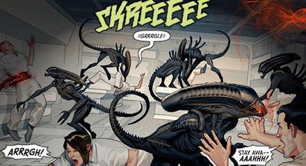 Aliens vs. Predator interior drawn by  Ariel Olivetti More