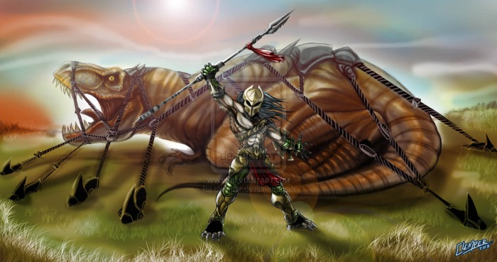 Predator Hunting T-Rex Where should Shane Black's Predator Sequel take place?
