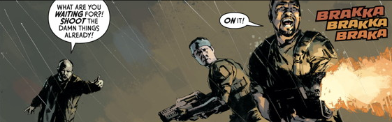 Christopher Golden's River of Pain introduces a small contingent of Colonial Marines already stationed at Hadley's Hope. They make a brief appearance in Aliens - Fire and Stone. Chris Roberson Interview