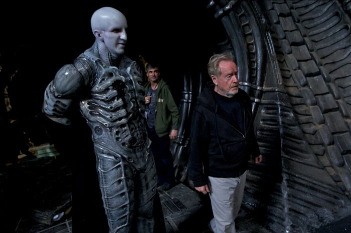 "Ridley Scott on the set of Prometheus. Alien: Covenant will explore more about the Engineers: """"So in other words, why was this space jockey there and why did he have an Alien inside him? And those questions will be answered.""  Alien: Covenant Shooting March 2016 + Trilogy Details"