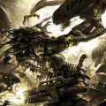 Amongst the things we discuss in this episode is the comic Aliens vs. Predator: Three World War. This picture is one of Raymond Swanland's cover for the series.