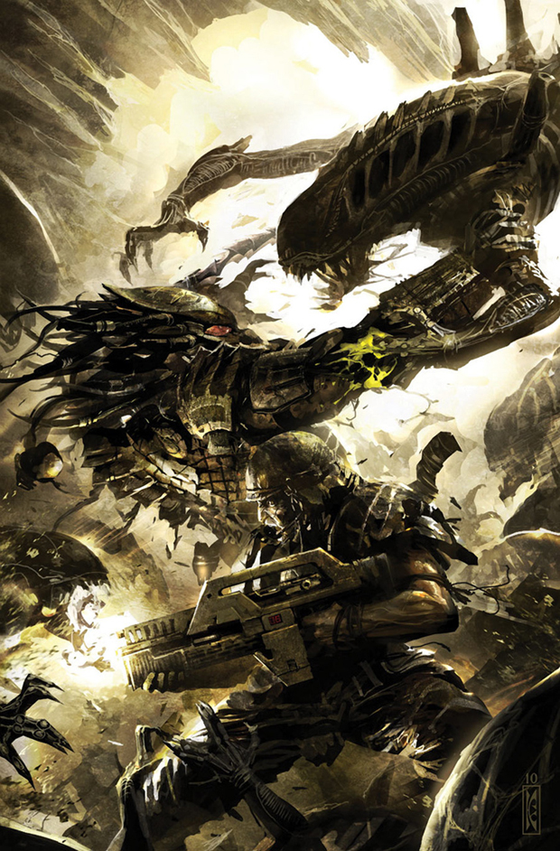 Amongst the things we discuss in this episode is the comic Aliens vs. Predator: Three World War. This picture is one of Raymond Swanland's cover for the series. Things We Enjoy But Others Seem To Hate - AvPGalaxy Podcast #32