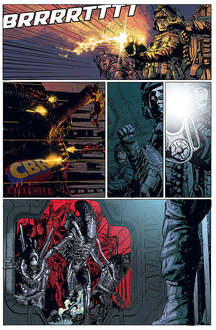 Our first look at the full coloured interior artwork of Aliens: Defiance #1 via Comic Book Resources. First Look At Aliens: Defiance  #1