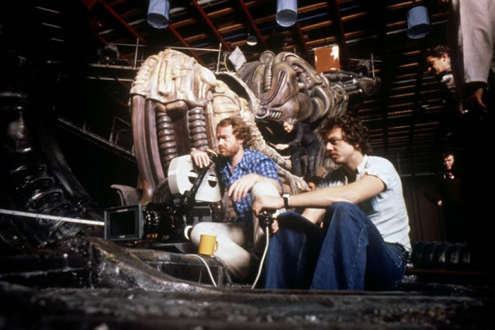 Ridley Scott on the Space Jockey set on Alien. H.R Giger can be seen working on the creature in the background. Engineering Prometheus - From Jon Spaihts to Damon Lindelof