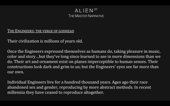 Alien 01: The Master Narrative Engineering Prometheus - From Jon Spaihts to Damon Lindelof