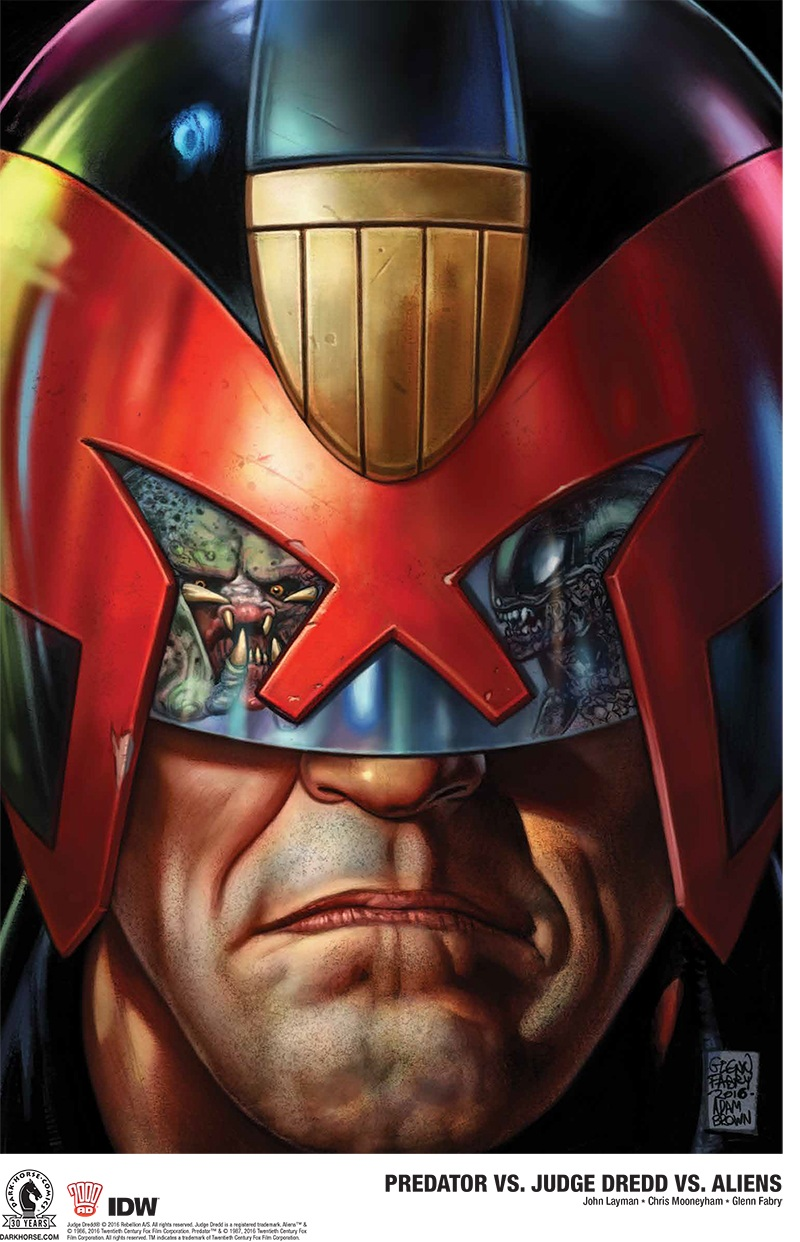 Emerald City Comic Con Exclusive Print, by Glenn Fabry and Adam Brown. Dark Horse Announces Predator vs. Judge Dredd vs. Aliens