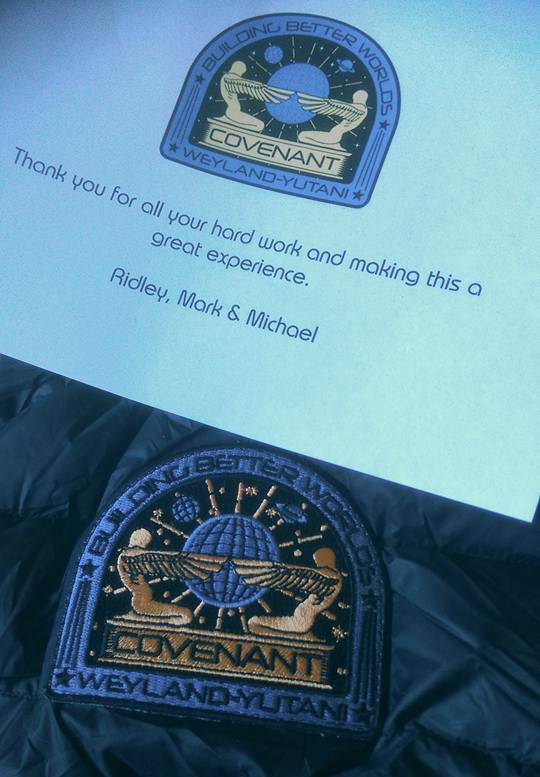 "A ""Thank You Note"" from Ridley Scott, Mark Huffam and Michael Schaefer to the crew along with a Covenant patch and jacket (better seen here). Alien: Covenant Has Wrapped Filming!"