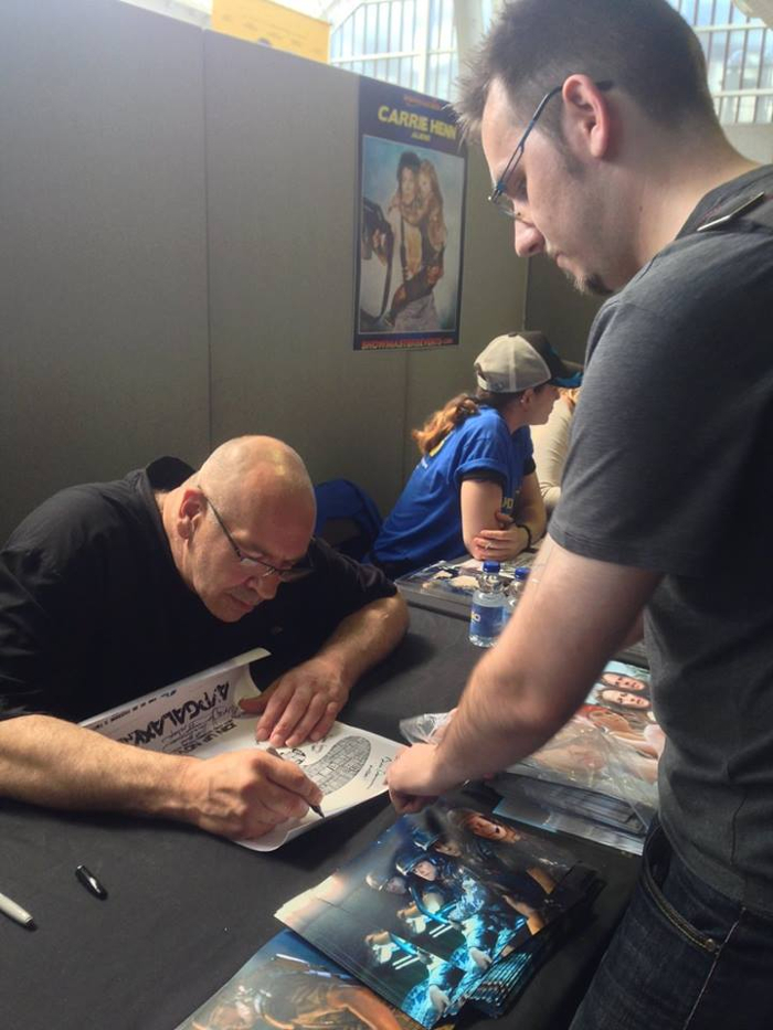 Trevor Steedman adds his signature to Corporal Hicks' Alien vs. Predator Galaxy poster at London Film and Comic Con in July 2015.  Trevor Steedman Interview