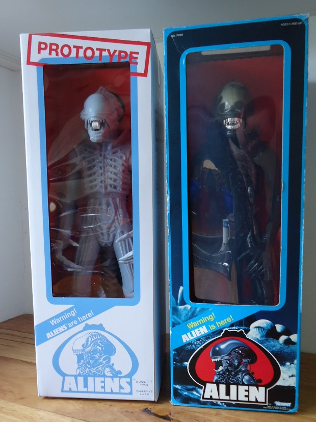 """The Super 7 Aliens Warrior Prototype in box next to an original Kenner 18"""" Alien figure. Super 7 Aliens Warrior Prototype Review"""