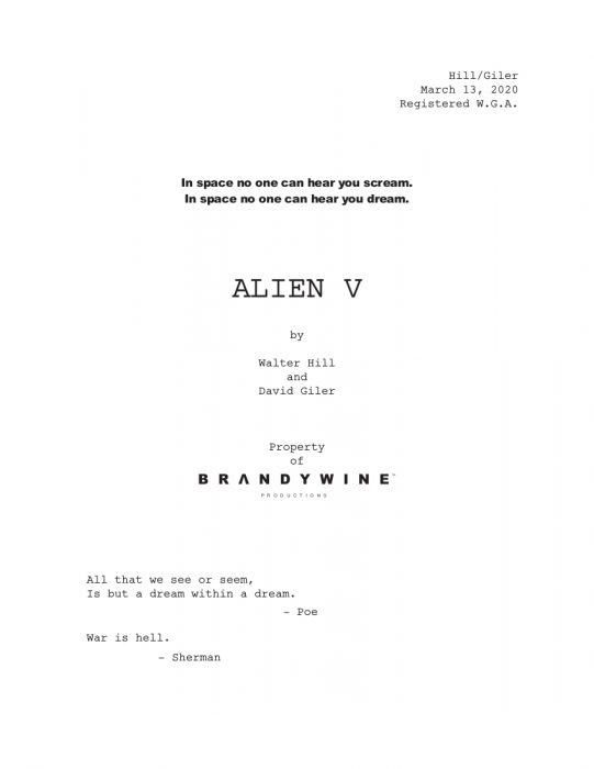 """""""All That We See Or Seem Is But A Dream Within A Dream"""" - Walter Hill Talks His Alien 5 Treatment"""
